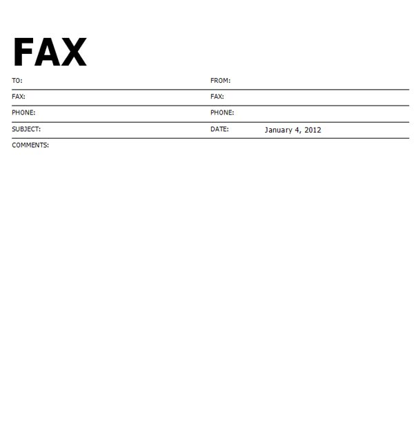 Template Fax Cover Sheet