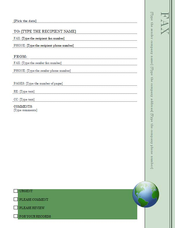 earth day fax cover