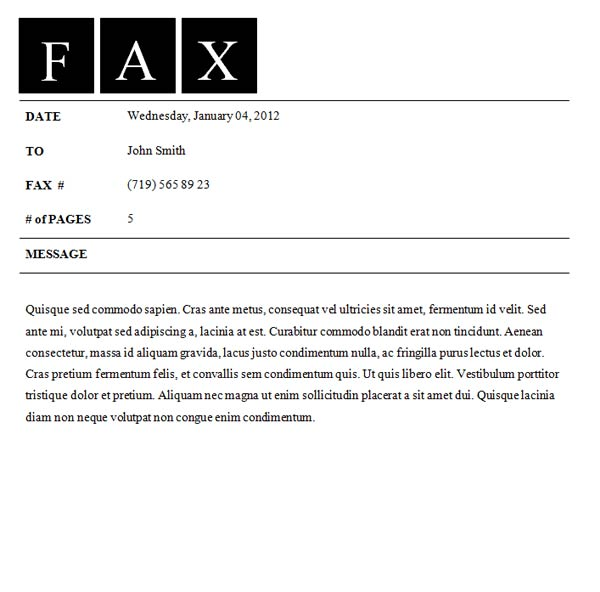 fax cover sheet format template