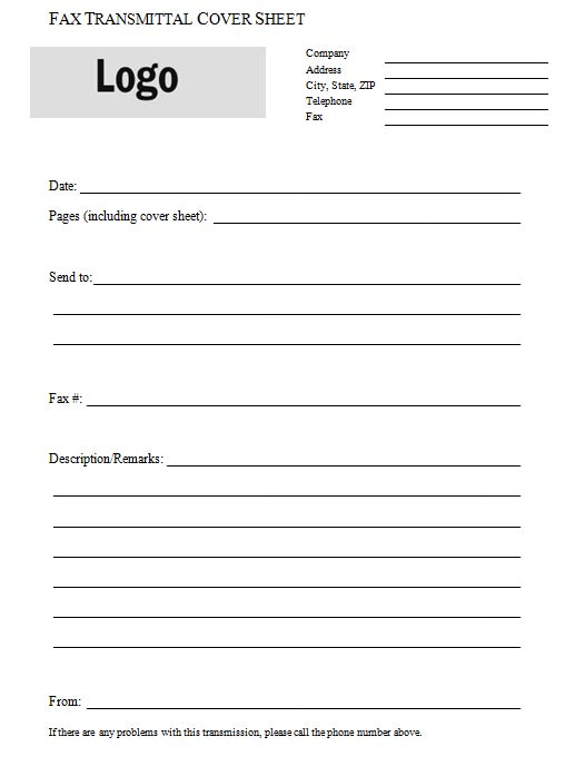 Fax Transmittal Cover Sheet – Transmittal Template
