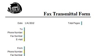 Fax Transmittal Form