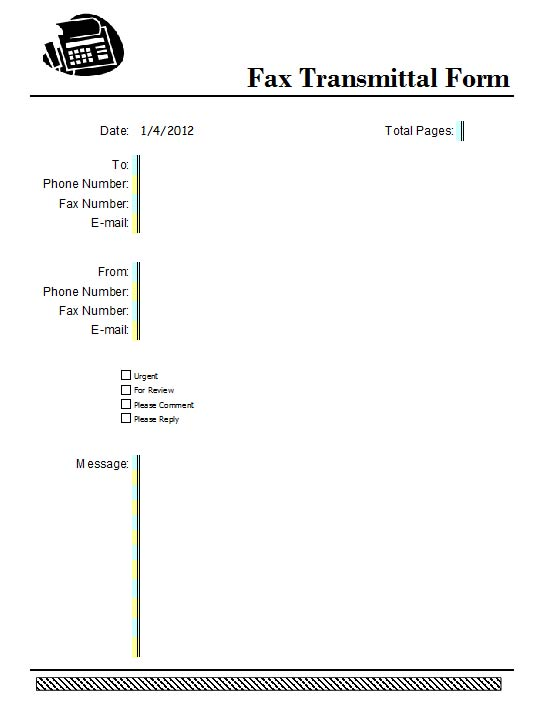fax transmittal cover sheet template