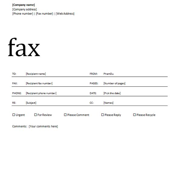 A Cover Sheet – Fax Cover Sheet Template Word