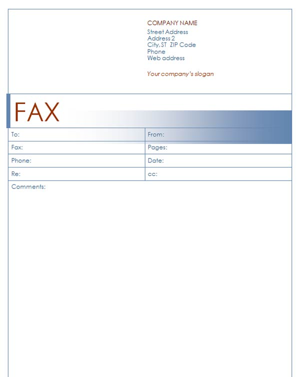 Fax Cover Sheet with Blue Design