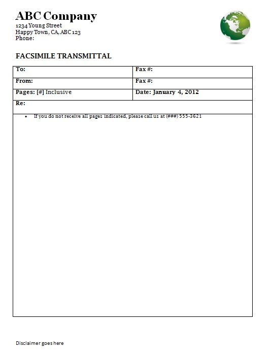 Informal Fax Cover Sheet