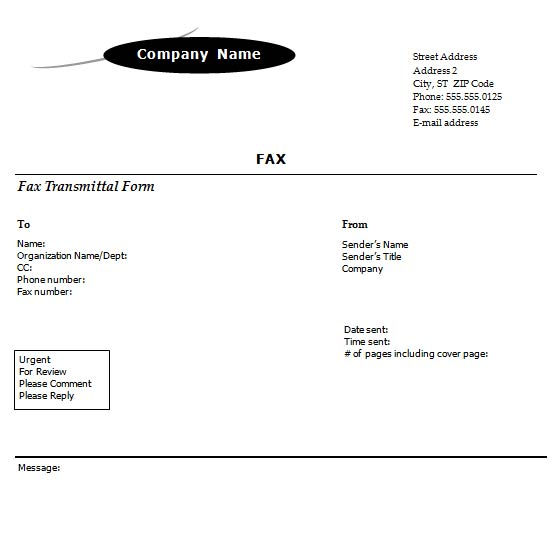 Standard Fax Cover Sheet With Arc Design